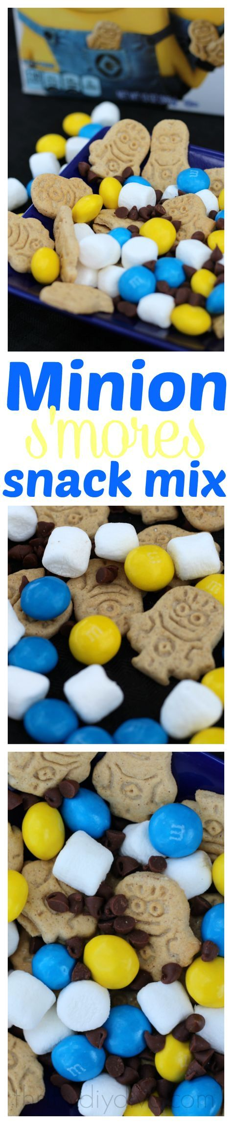Perfect treat for Minions fans!  Minion S'mores Snack Mix ... A cute smores treat for the kids!