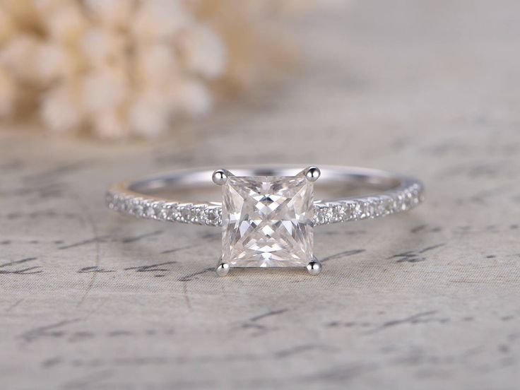 5.5mm Princess Cut Forever Classic Moissanite Ring,Moissanite Engagement Ring,Diamond Wedding Band,14K white Gold,Solitaire Ring Party Gift by kilarjewelry on Etsy https://www.etsy.com/listing/534002659/55mm-princess-cut-forever-classic