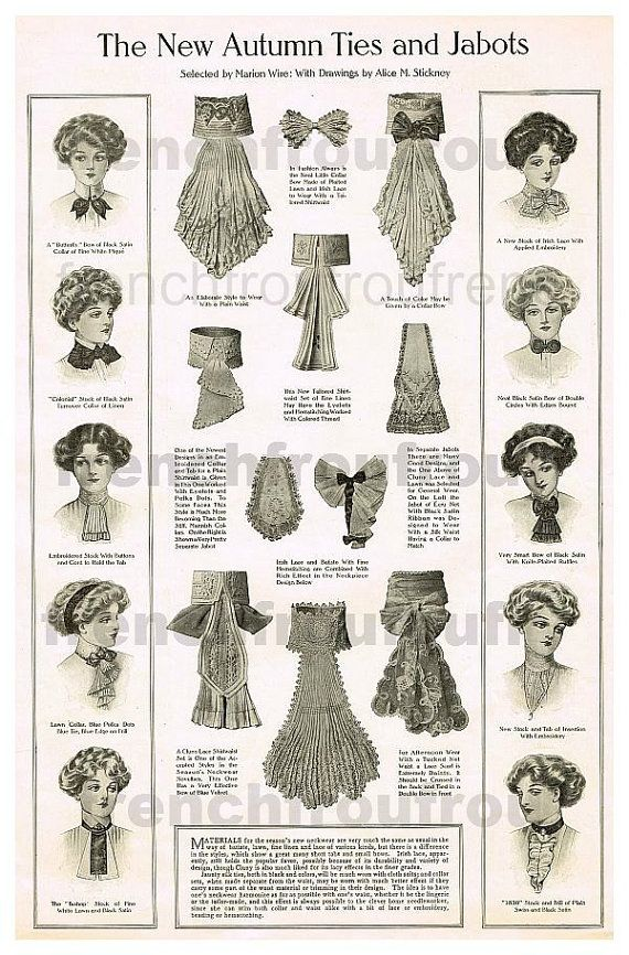 antique victorian woman fashion lace jabot ties by FrenchFrouFrou