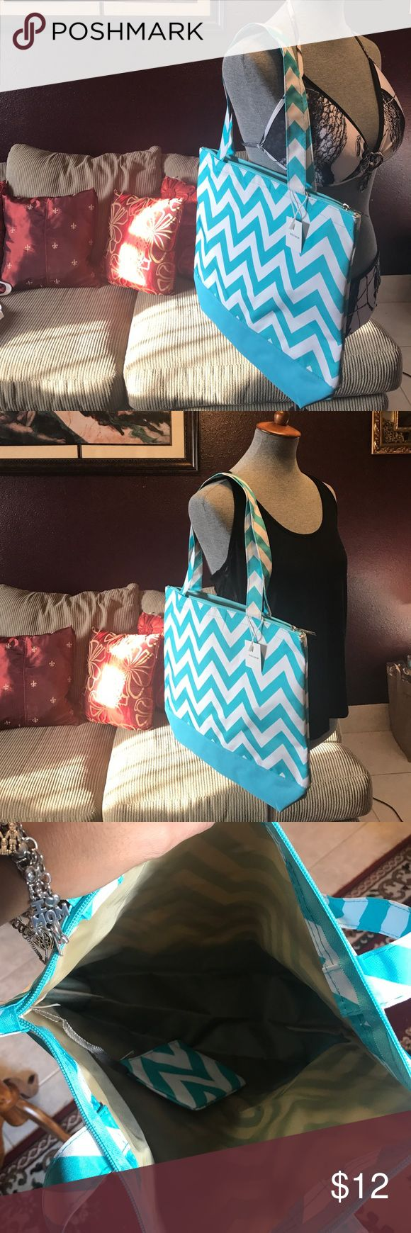 Chevron Turquoise Blue/white Tote Bag Chevron Turquoise blue and white print tote bag. Can be used for different occasions: beach, gym, diaper bag, weekend get away, sleepover, or even to carry books, iPad you decide!!! Has an attached coin bag. Bags Totes