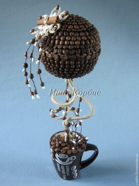 Купить Деревья ручной работы. Кофейный топиарий 1. - разноцветный, кофейное дерево, Кофейный топиарий