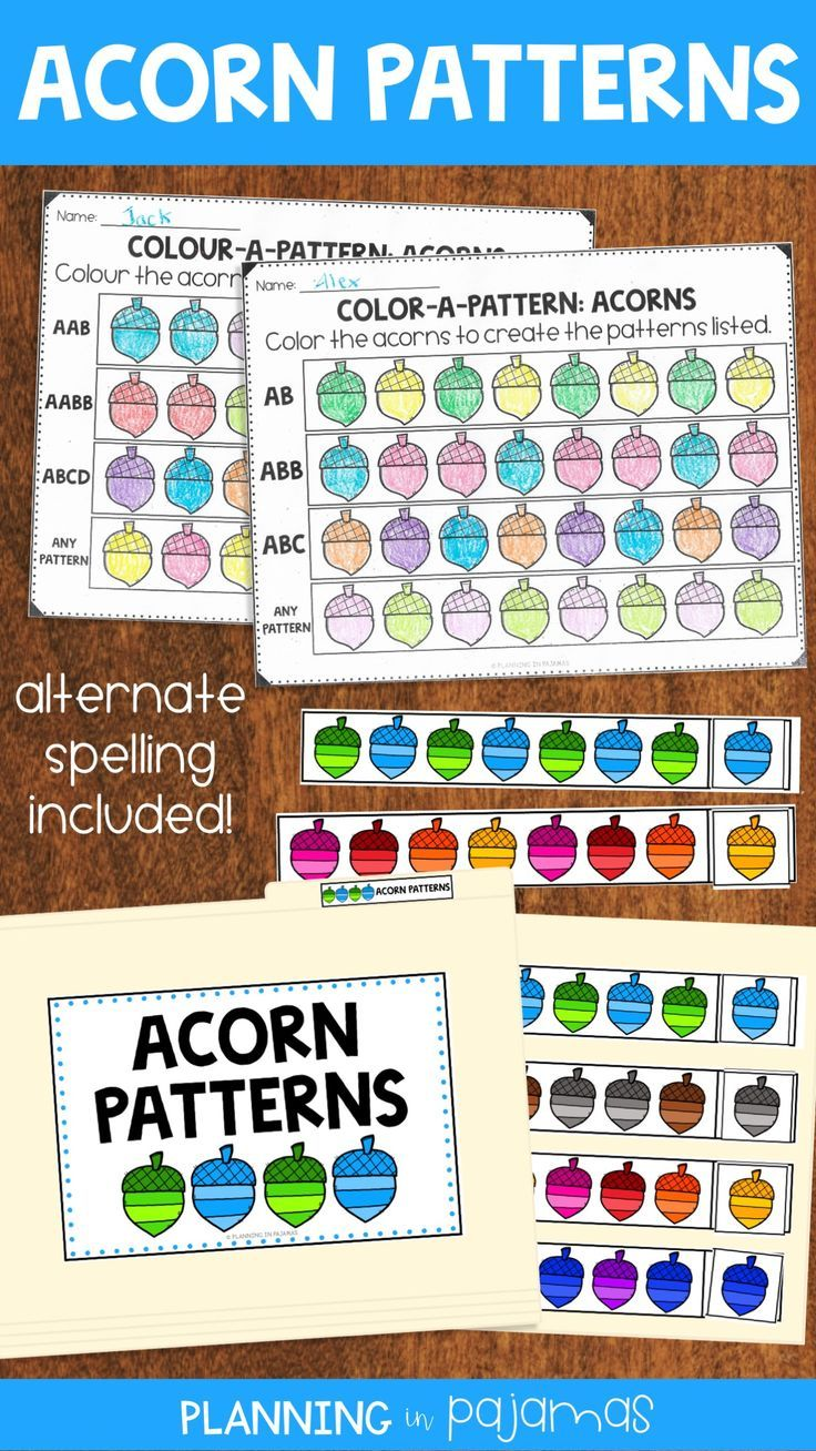 Acorn Pattern Activities To Include In A Fall Autumn Theme 2 Worksheets Asking Students To Create 6 Different Pattern Worksheet Folder Games File Folder Games [ 1308 x 736 Pixel ]