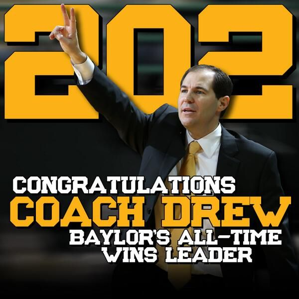 Congratulations to #Baylor men's basketball coach Scott Drew on becoming the program's all-time wins leader! #SicEm
