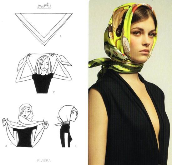 The classic way to wear your Hermes scarf! (The hitchcock heroine.)