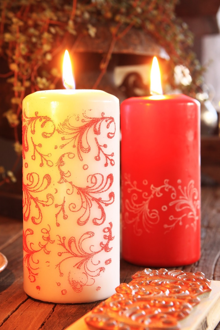 stamped candles just roll candle over stamp