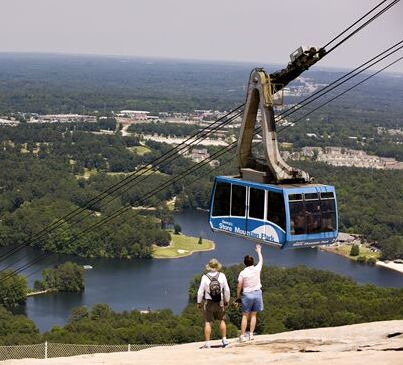 Hike or ride your way to the top of Stone Mountain Park for the best summer views of the Atlanta skyline.