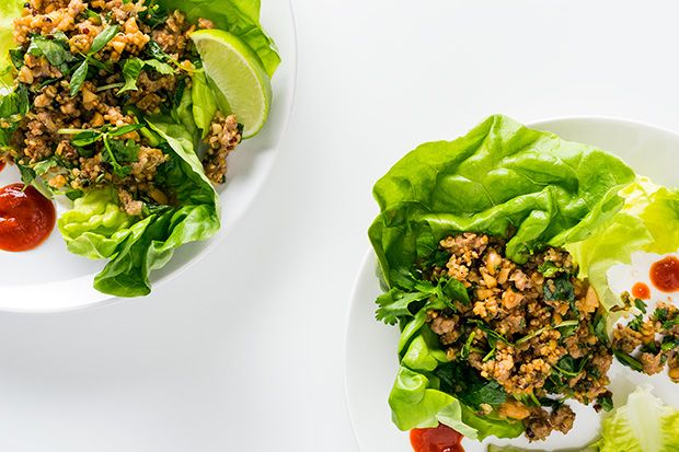 Find the recipe for Lettuce Cups with Pork and Quinoa in Peanut Sauce and other  recipes at Epicurious.com
