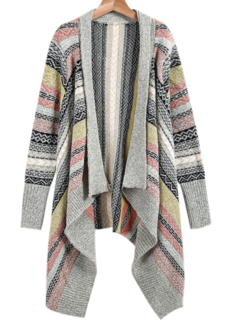 Shop Light Grey Long Sleeve Tribal Print Knit Cardigan online. Sheinside offers Light Grey Long Sleeve Tribal Print Knit Cardigan & more to fit your fashionable needs. Free Shipping Worldwide!