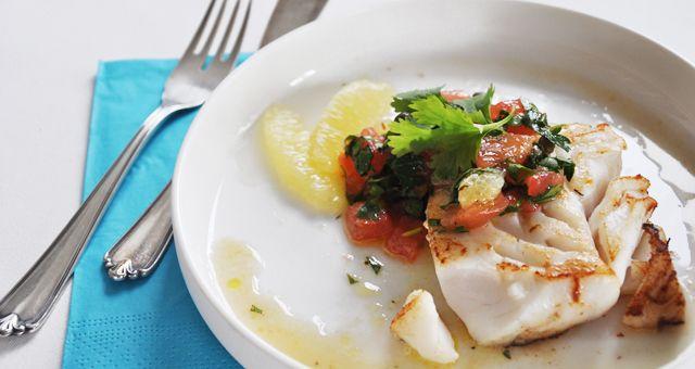 Zeebaars met een tomatensalsa