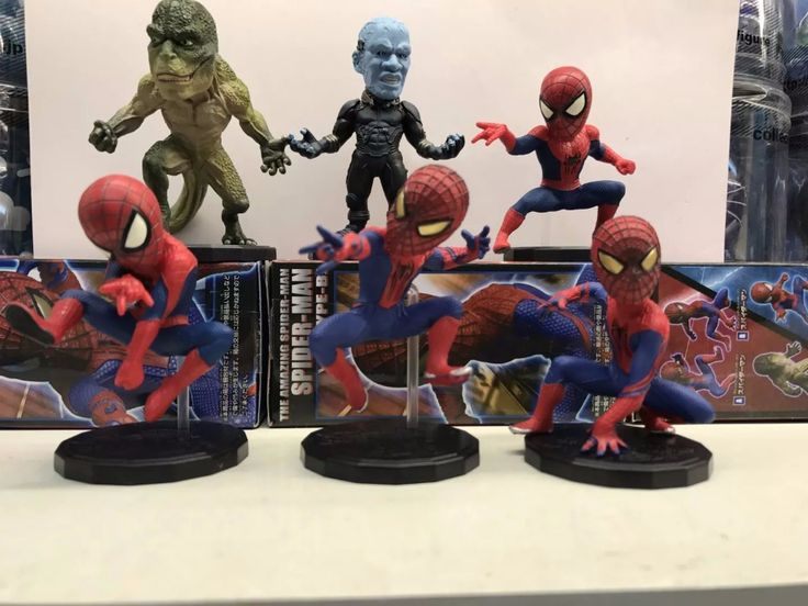 Marvel WCF The Amazing Spider-man Spiderman Electro Lizard PVC Action Figure Kids Toys Brinquedos 6pcs/set #Affiliate