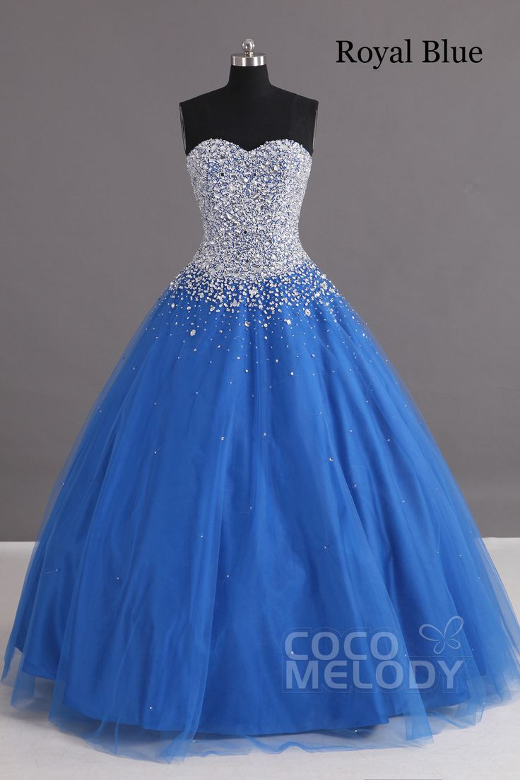 Charming Ball Gown Sweetheart Floor Length Tulle Lace-up Corset Quinceanera Dress with Crystals COLF1400F