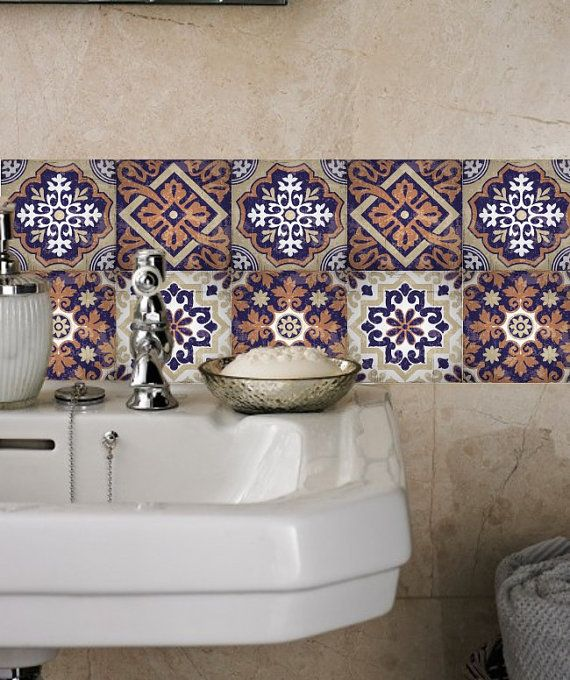 Stickers carrelage autocollants tuile stickers for Model de carrelage pour salle de bain
