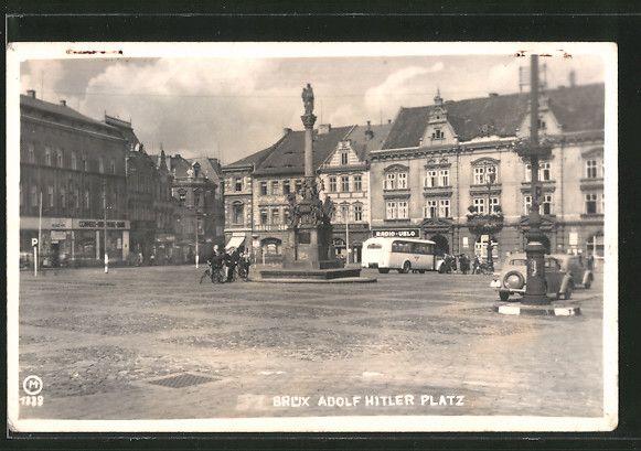 old postcard: AK Brüx / Most, Adolf Hitler Platz
