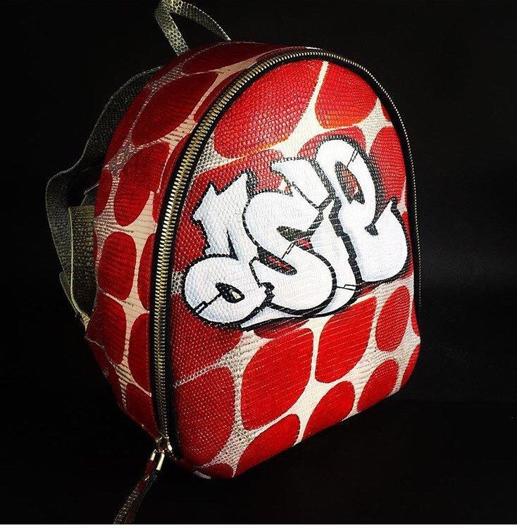 Art leather backpack. Graffiti backpack. Genuine Leather Backpack. Lizard Leather Backpack. Summer leather backpack. 涂鸦皮革背包 by StudioANTU on Etsy
