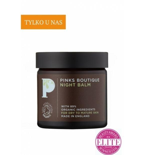Regenerujący balsam na noc - Pinks Boutique, 50 g  Dla cery suchej/wrażliwej/dojrzałej Bogaty, regenerujący balsam na noc koi skórę i wspomaga proces odnowy.   Aktywny wyciąg z owocu dzikiej róży, marchwi i nagietka lekarskiego łączą się z odżywczym masłem shea, aby wspierać proces regeneracji skóry podczas snu.