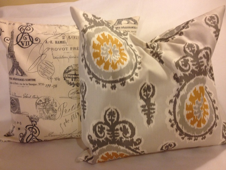 Grey Ikat And French Document Pillow Set. $28.00, Via Etsy.