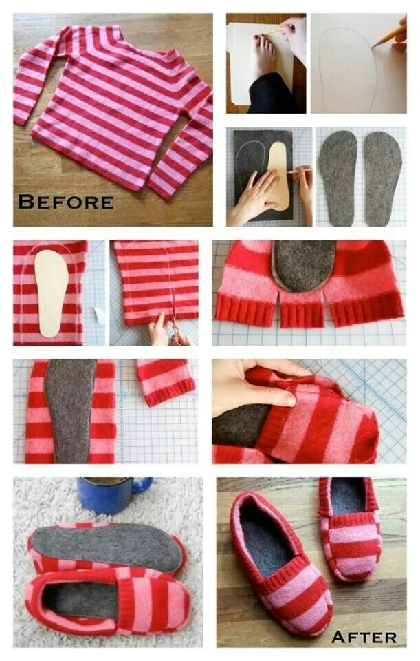 Cozy slippers from a sweater. http://diycozyhome.com/how-to-make-cozy-slippers-from-a-sweater