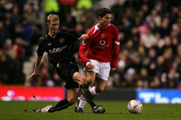 Cristiano Ronaldo hopelessly outclassed in the 2005 FA Cup fixture at Old Trafford vs Exeter City.