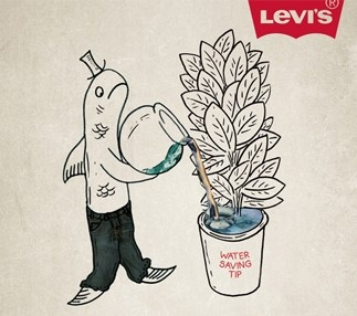 Ad for Levi's Waterless Jeans - 2010. Press Release with data: http://www.levistrauss.com/news/press-releases/levis-brand-introduces-waterless-jeans