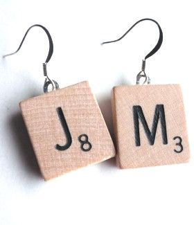 Recycled Scrabble Tile Earrings - Don't tell me your teenager wouldn't love these - plain or colored tiles.  Boyfriend's initials?  Hmm....