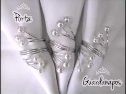 Como fazer Porta Guardanapos de pérolas com arame de alumínio - YouTube                                                                                                                                                                                 Mais