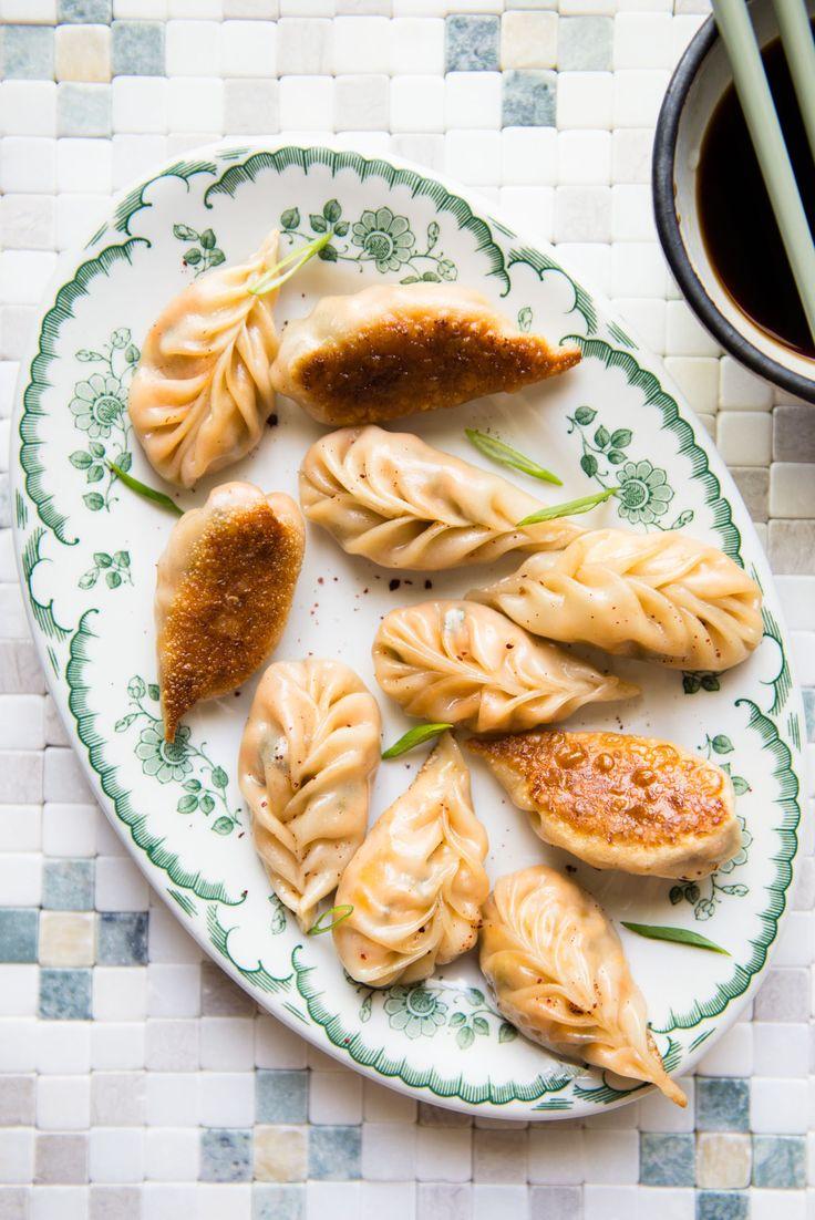 Red Curry Tofu Dumplings - pan-fried vegan dumplings with step-by-step photos