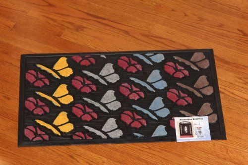"""WATERHOG DOOR MAT BUTTERFLY DESIGN 18"""" X30"""" INCH LOW CLEARANCE by Forever mats. $21.99. Nice welcoming door mat for the house. Attractive colorful design. Nice Butterfly Welcome Door mat is made of colored polypropylene and Natural rubber backing.The  brush provides unmatched scrubbing action and moisture absorption. This mat will give a nice welcoming atmoshphere to your house.   Size 30"""" x 18""""."""