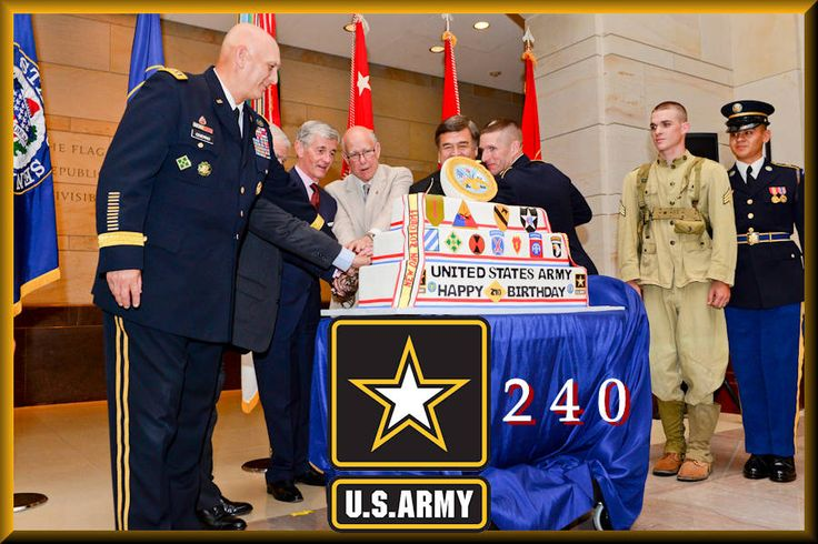 """U.S. Army Chief of Staff Gen. Ray Odierno, U.S. Sen. Jim Inhofe, Army Secretary John M. McHugh, U.S. Sen. Pat Roberts, Rep. """"Dutch"""" Ruppersberger of Maryland, and Sgt. Maj. of the Army Daniel A. Dailey cut the ceremonial cake during the 240th Army Birthday Capitol Hill cake-cutting ceremony at the U.S. Capitol Visitors' Atrium in Washington, D.C., June 10, 2015. The U.S. Army's official birthday is June 14th."""