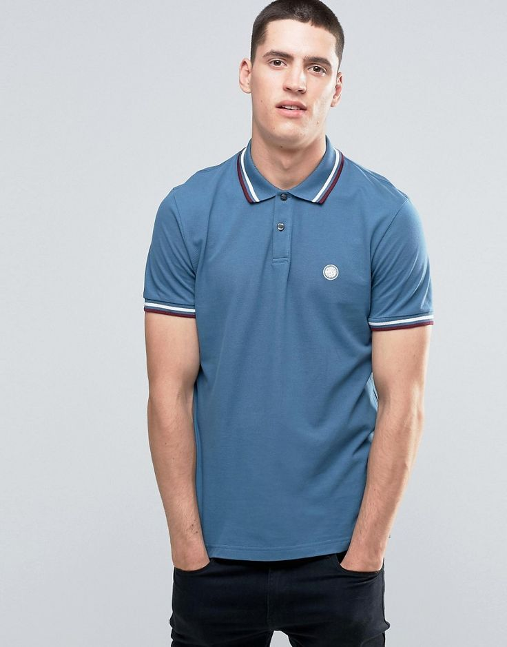 Image 1 of Pretty Green Polo Shirt With Twin Tip In Slim Fit Blue