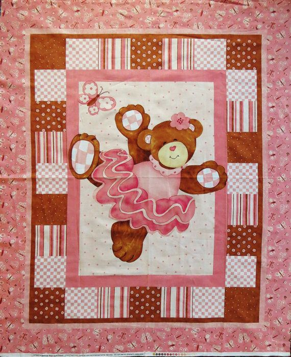 Belinda Bear Quilt Fabric Panel For Wall Quilt Or Crib