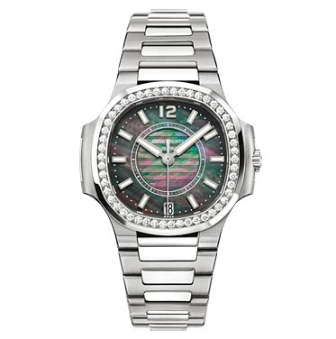 Patek Philippe Nautilus Automatic Women's Watch, Stainless Steel, Black  Mother Of Pearl Dial,