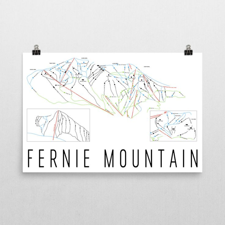 Fernie Ski Map Art Fernie BC Fernie Trail Map by ModernMapArt