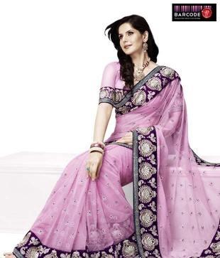 Designer Wear Fuchsia And Purple Georgette Raw Silk Saree  http://www.snapdeal.com/product/women-apparel-sarees/DesignerWe-86816?pos=0;1219?utm_source=Fbpost_campaign=Delhi_content=188825_medium=180512_term=Prod