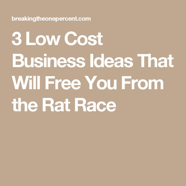 3 Low Cost Business Ideas That Will Free You From the Rat Race