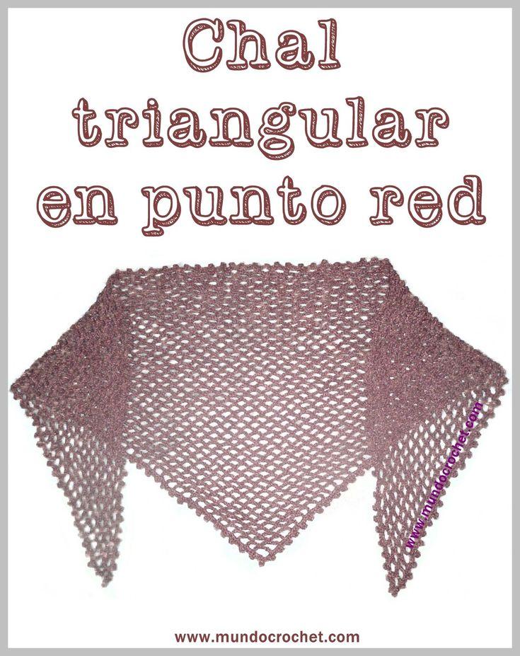 Patron chal triangular en punto red a crochet o ganchillo