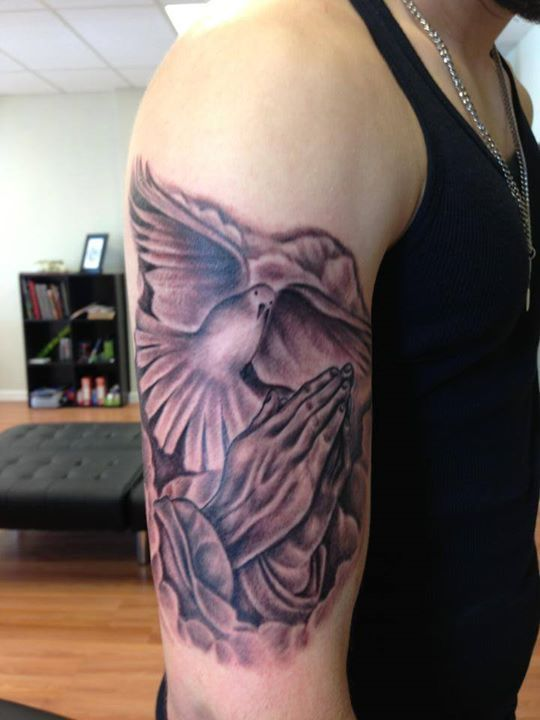 8 best religious images on pinterest tattoo studio for Dove and hands tattoo