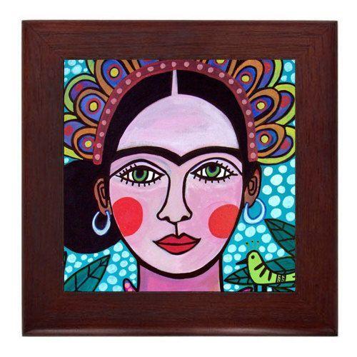 Frida Kahlo Mexican Folk Art Ceramic Framed Tile by Heather Galler - Ready To Hang Tile Frame Gift