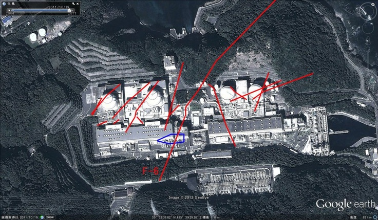This is why we need alternative energy sources! he red lines on this photo depict the shattered zones (earthquake  faults) under the Oi Nuclear Power Plant. Info from Kansai Electric (KEPCO).