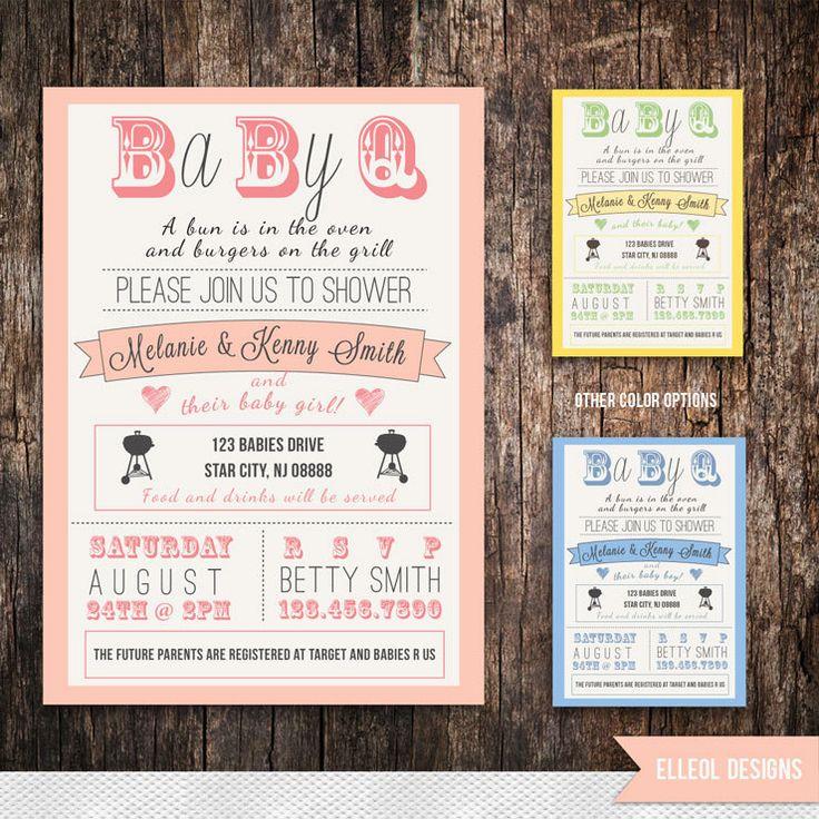 couples Baby Shower BBQ invitation boy girl