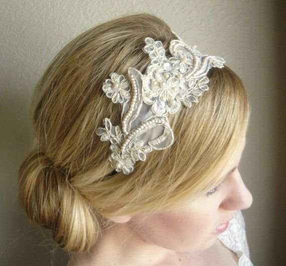ivory lace headbandWedding Hair Lace Headbands, Hair Piece, Vintage Lace Headbands, Ivory Lace, Lace Headbands Wedding, Lace Headbands Hairstyles, Bridal Hair, Hair Style, Wedding Hairstyles