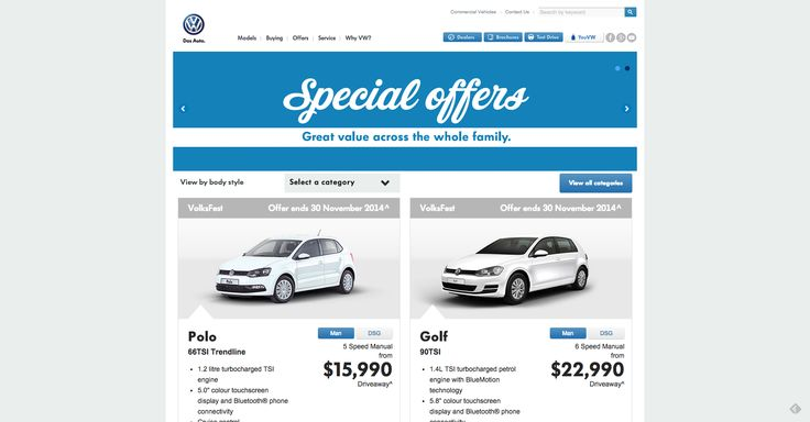 Project: Volkswagen.com.au Special Offers, Drupal content integration and fully responsive. Role: Producer, UX. Agency: Tribal DDB.