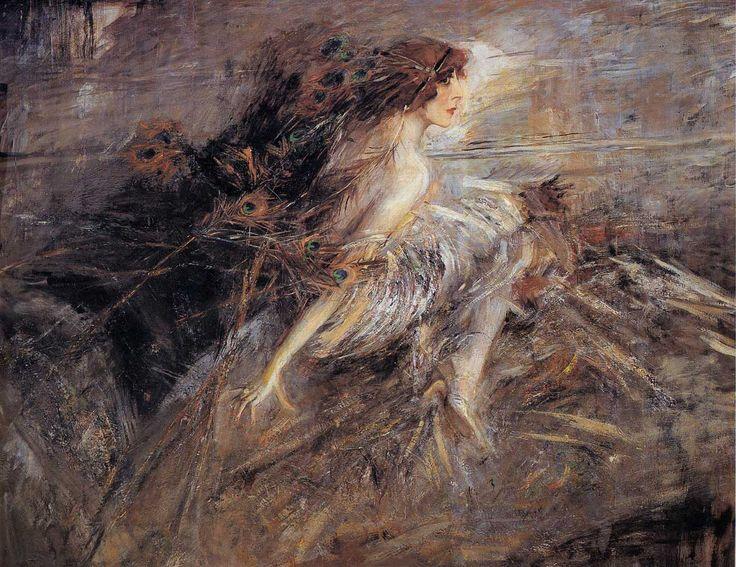 La marchesa Luisa Casati con penne di pavone (Portrait of the Marquise) - Giovanni Boldini