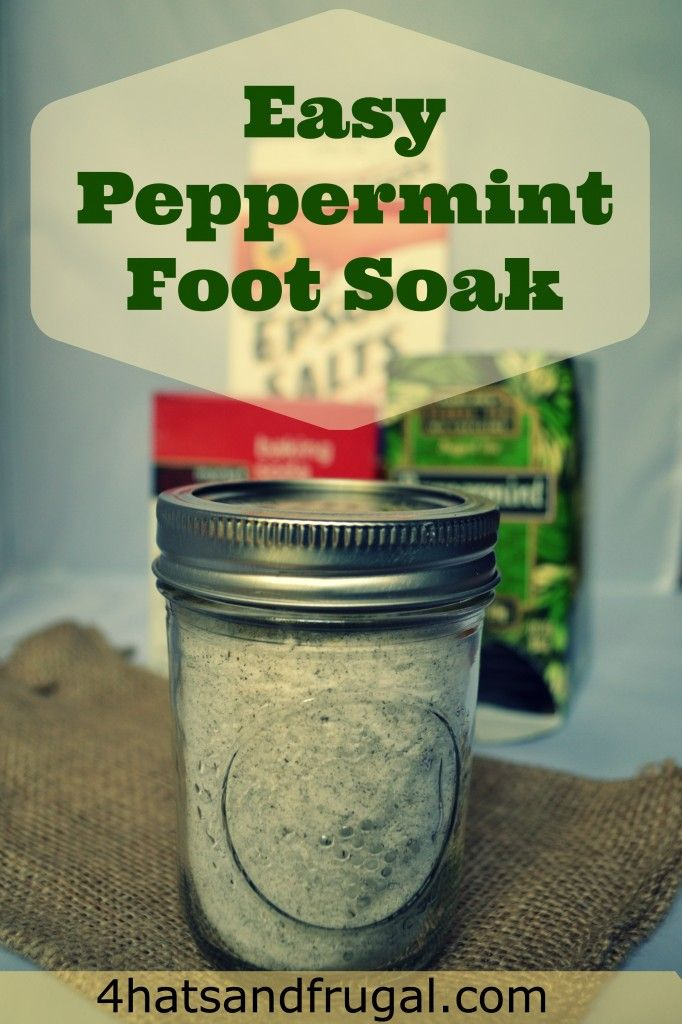 This recipe for peppermint foot soak uses 3 items that are right in your pantry and would be a great last minute gift. If you don't have a small mason jar, use whatever you have at home.