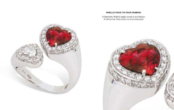 Anello face to face rubino - Diamonds, Ruby heart cut and white gold - Diamanti, Rubino taglio cuore e oro bianco #jewelry #gioielli #luxury #madeinitaly #classic