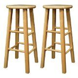 "Set of 2 Solid Wood 29""H Kitchen Square Leg Bar Stools"