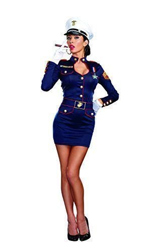 This is one of my favorite Sexy Halloween Costumes for Women for Halloween 2017. You can elevate this ladies Halloween costumes with the right Halloween jewelry, Halloween makeup and of course the right pair of Halloween shoes. Overall one of the best sexy women's Halloween Costume Idea   Dreamgirl Women's Take Charge Marge Military Captain Costume, Blue, Large