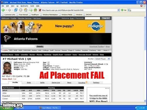 Ad Placement Fail - Michael Vick and A Pedigree Ad ... Bad Combination: Ads Placements,  Internet Site,  Website, Pedigr Ads, Web Site, Online Ads, Unfortun Online, Clever Marketing, Placements Fails