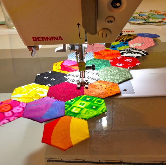 Sewing hexagons Sandra Kaye: Just A Little Sewing