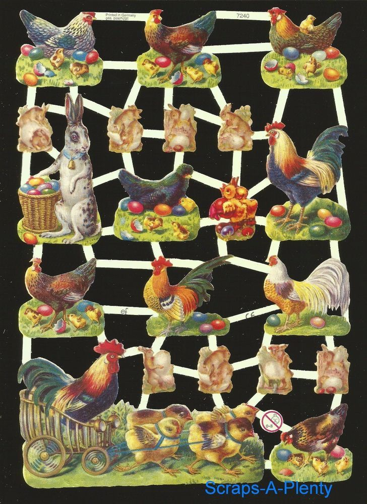 VICTORIAN STYLE DIE CUT PAPER SCRAPS EASTER THEME ef7222 GERMANY