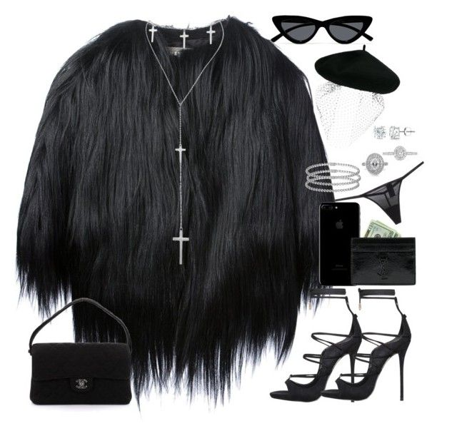 """""""showing up at your funeral 2.0"""" by nikkischeper ❤ liked on Polyvore featuring Yves Salomon, Chanel, Yves Saint Laurent, Silver Spoon Attire, Calvin Klein Underwear, Cartier, Mark Broumand, EWA, Auriya and Le Specs"""